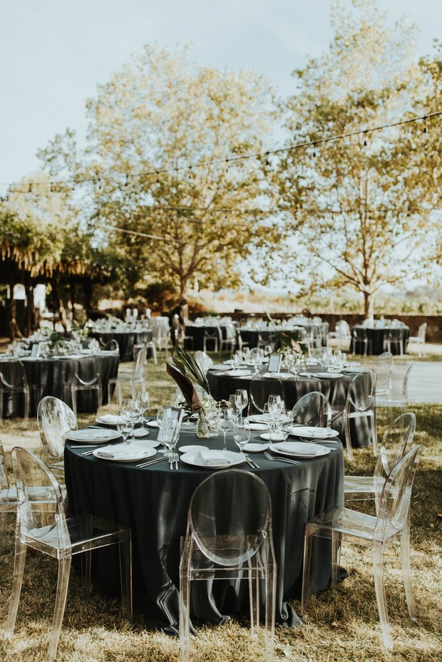 modern classic outdoor wedding reception