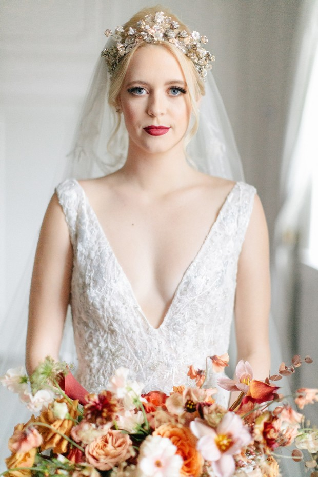 low v wedding dress