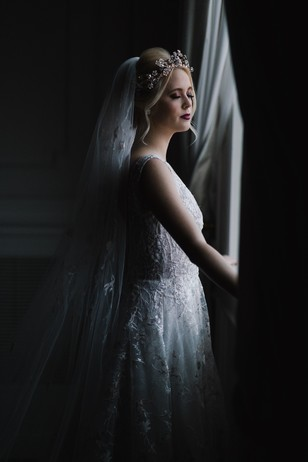 dark and moody bridal portrait idea