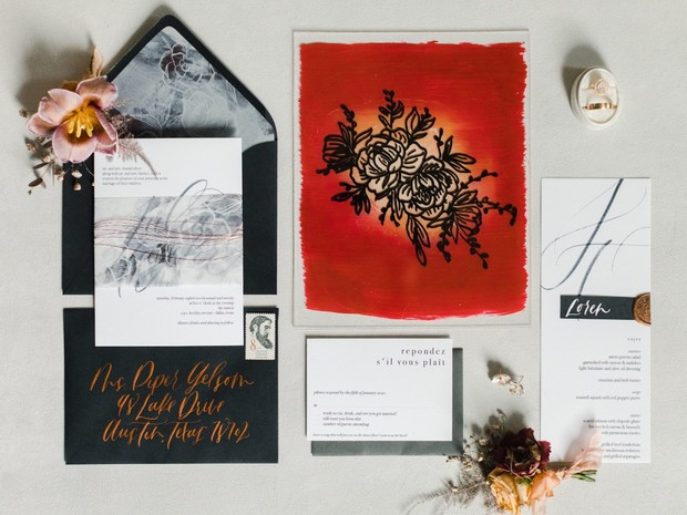 flat lay wedding invitation styling