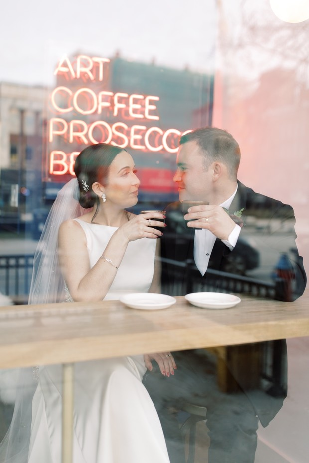 bride and groom getting coffee
