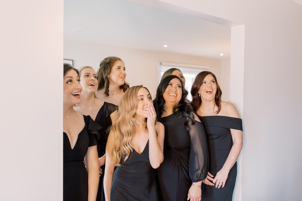 bridesmaid first look reaction