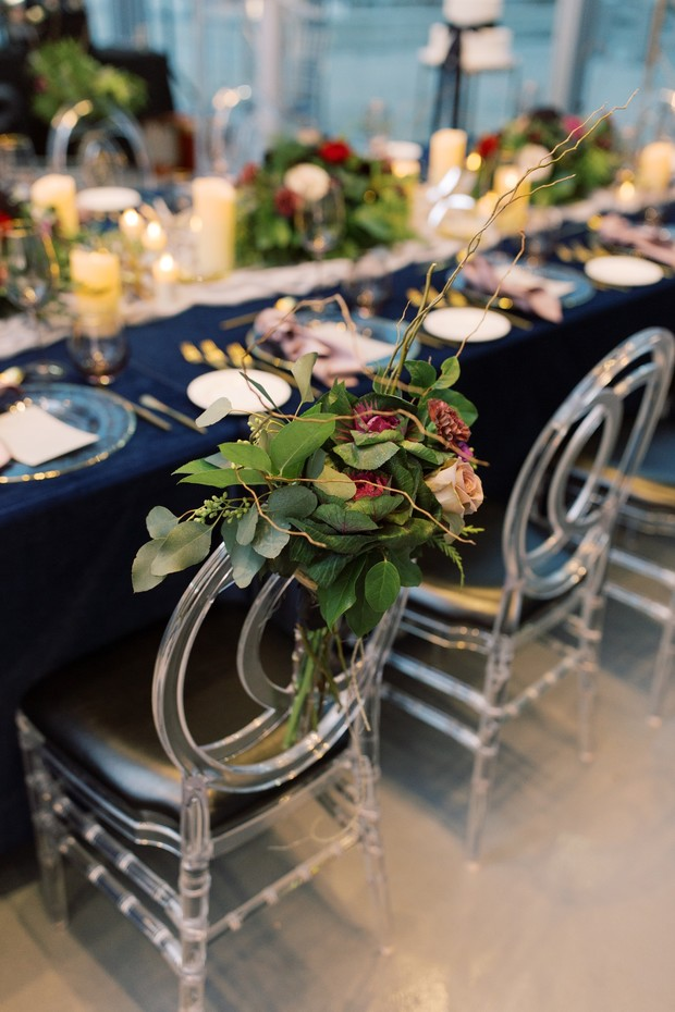 head table chair florals for wedding
