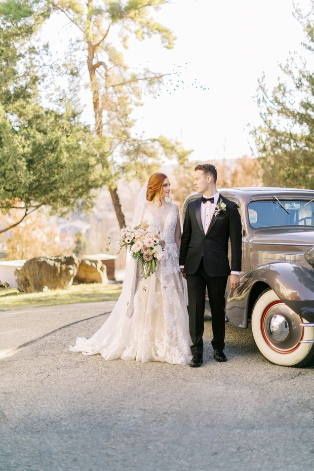 French estate wedding with vintage car