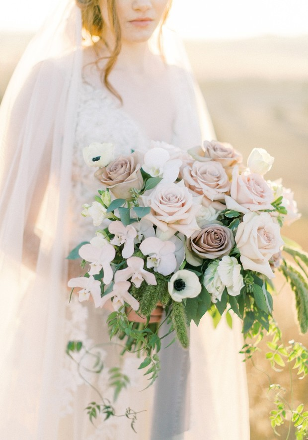 garden rose and orchid wedding bouquet