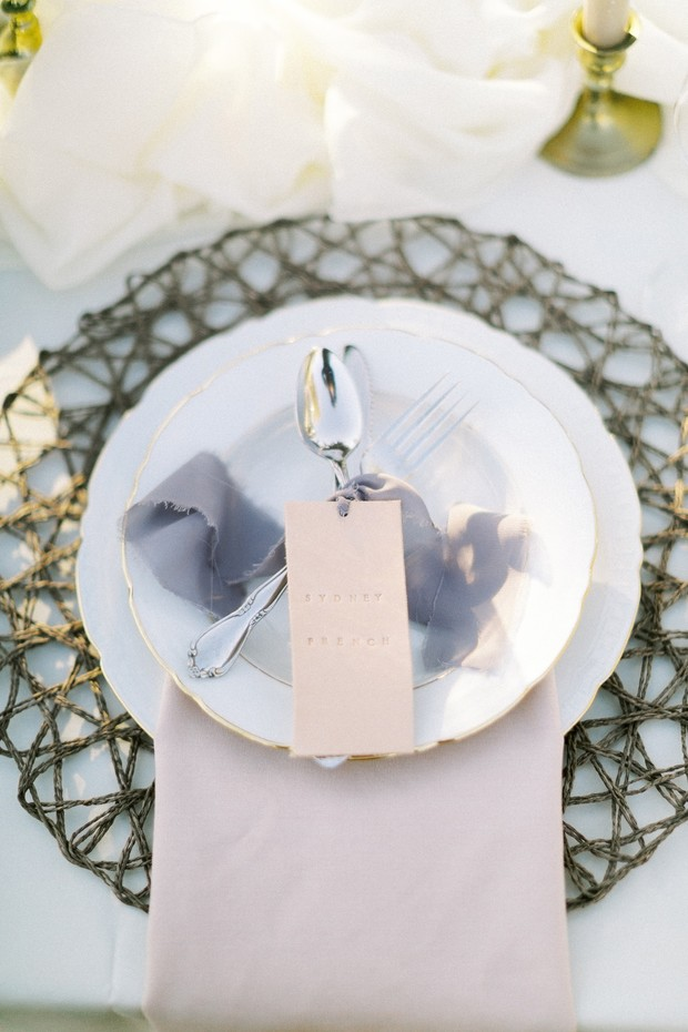 leather tag place card for wedding