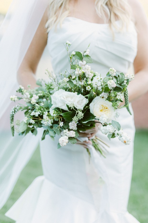 simple white and green wedding bouquet