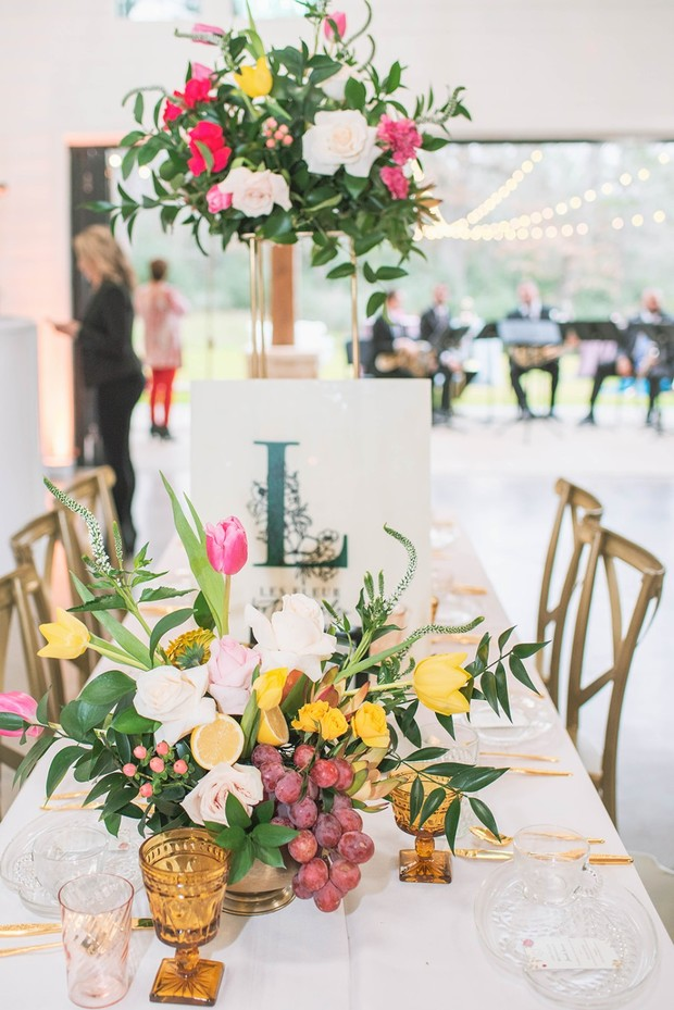 wedding florals with fruit
