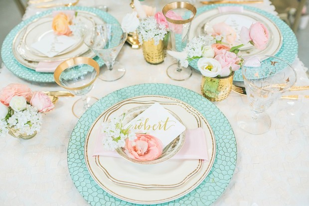 blue and gold reception place setting