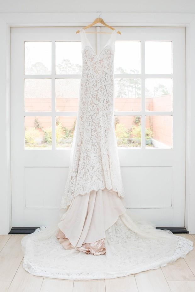 lace wedding dress with blush liner