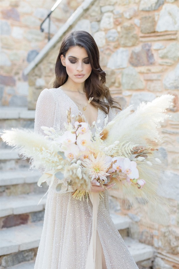 Pampas grass wedding bouquet