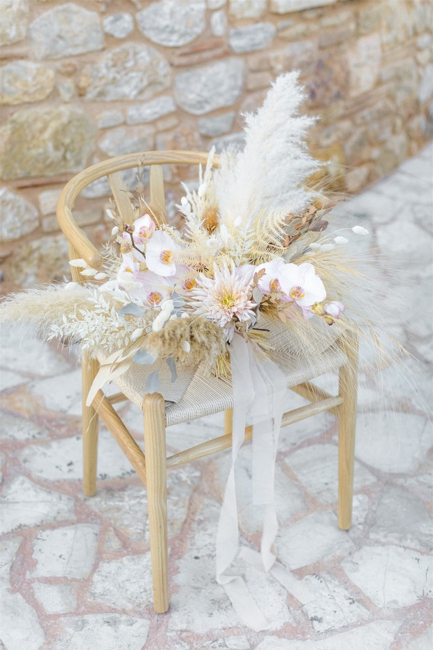 Pampas grass wedding bouquet with orchids
