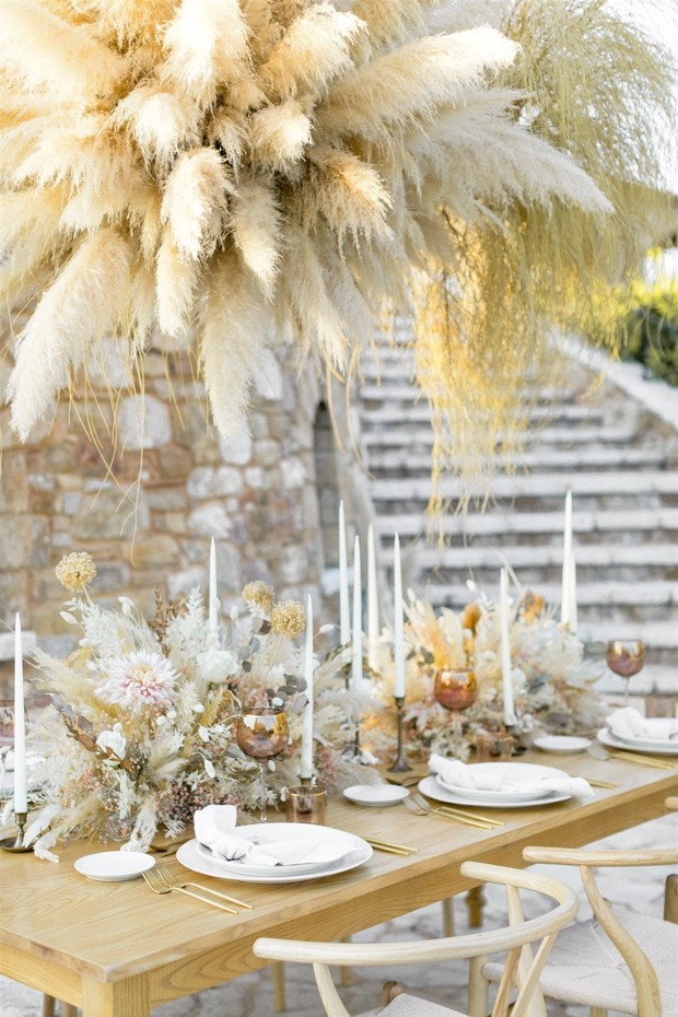 Pampas grass wedding reception