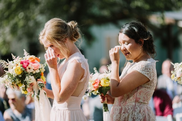 teary eyed bridemaids