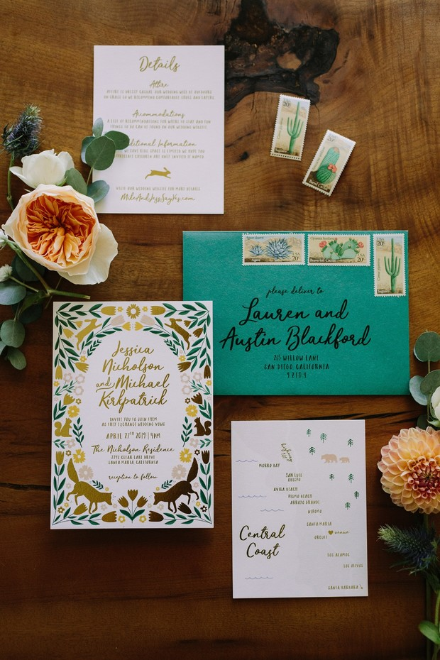 cute and kitschy wedding invitation suite
