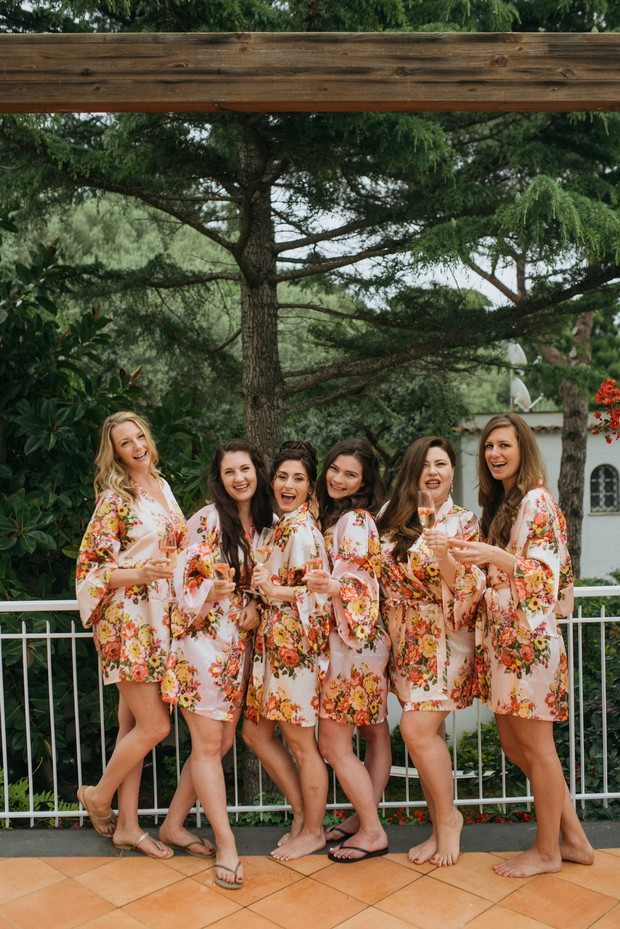 getting ready floral bridal party robes