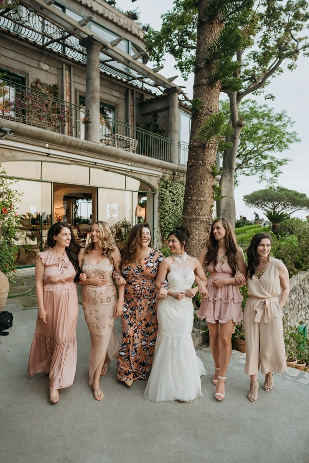 mismatched bridal party dresses in pink