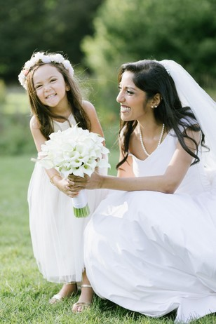 cute little flower girl and bride