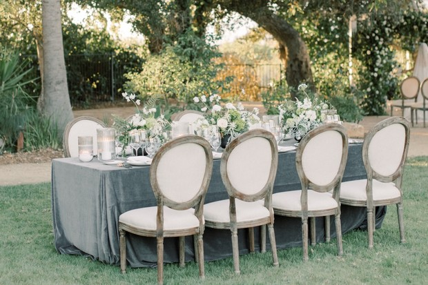 dusty grey table linen and chic white decor