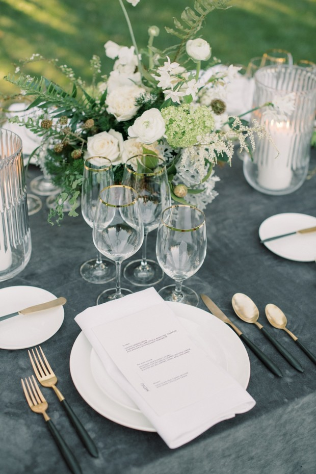 dusty charcoal and white wedding table decor