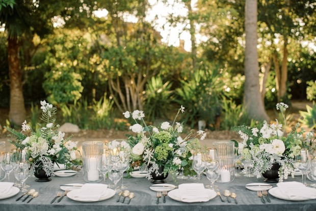 chic white and grey wedding table