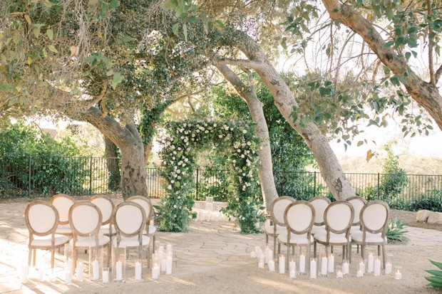 white and romantic outdoor wedding ceremony