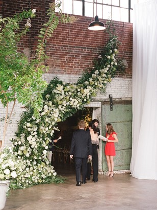 sweeping floral wedding installation