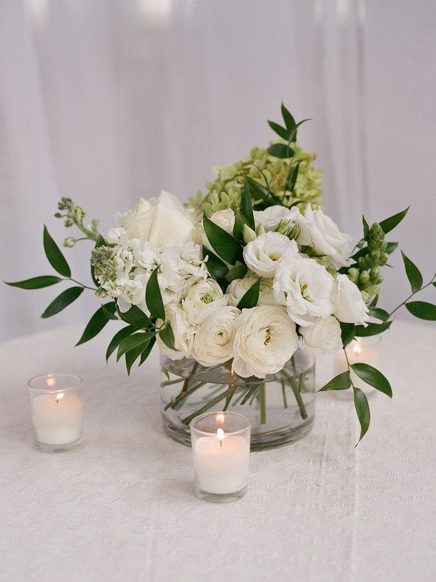 white and green wedding floral decor