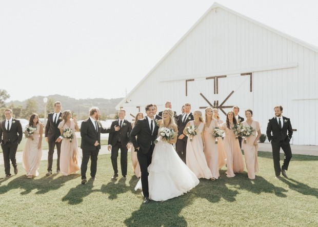wedding party in blush and black
