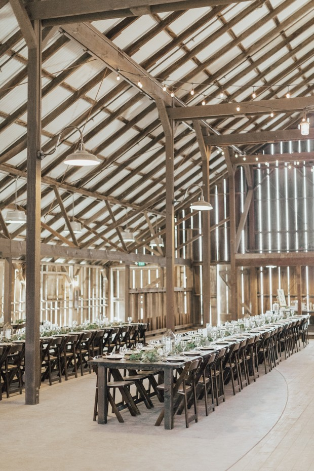 rustic chic wedding reception in the White Barn
