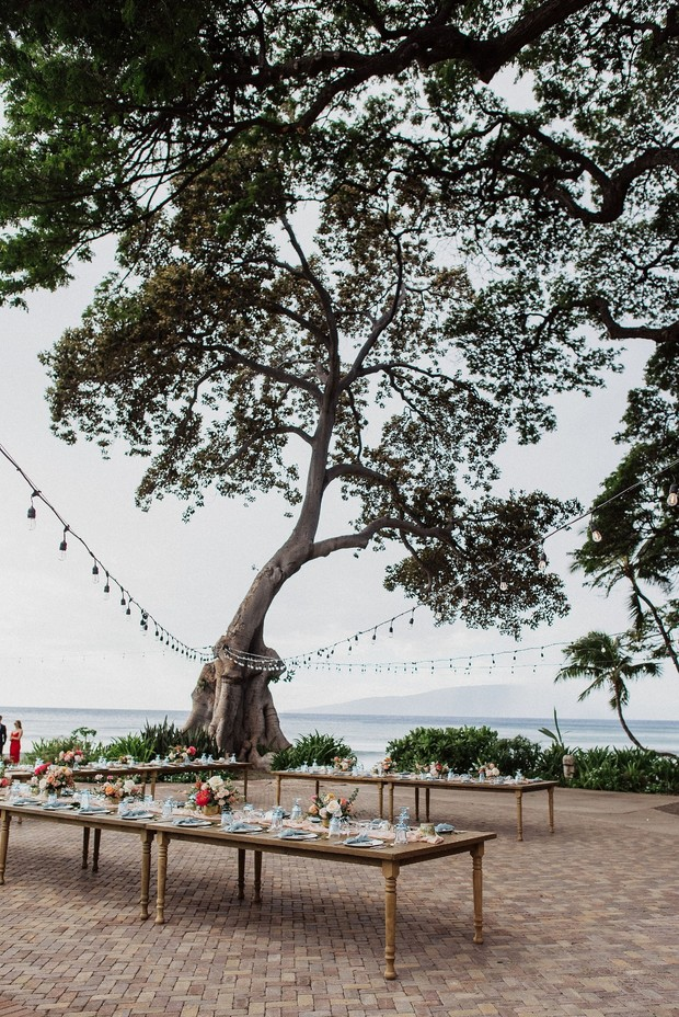 tropical outdoor wedding reception in Maui