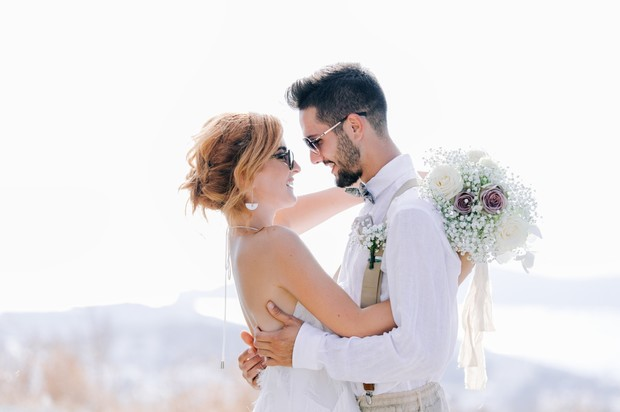 cute wedding couple in sunglasses