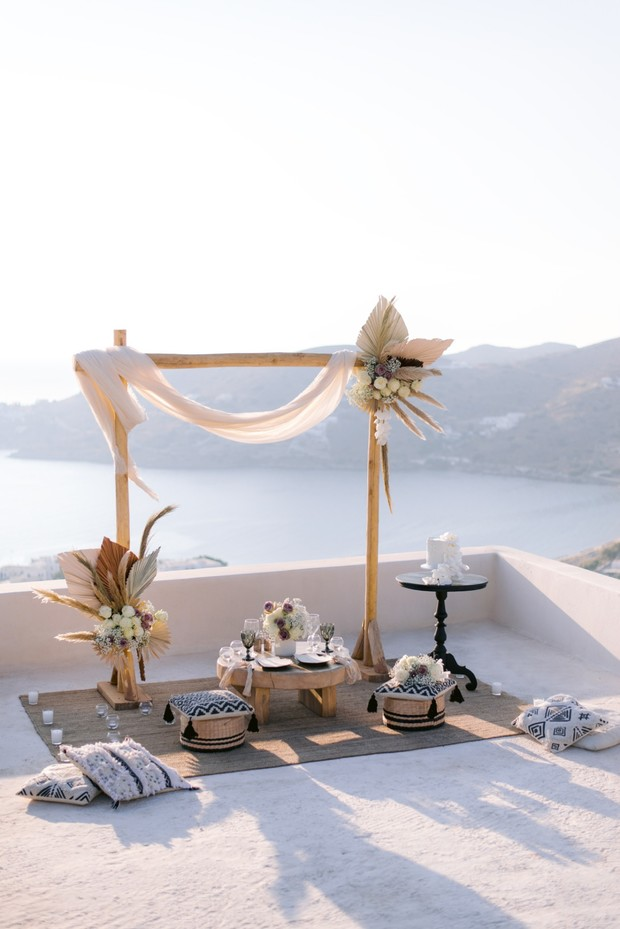 boho rooftop wedding ceremony backdrop