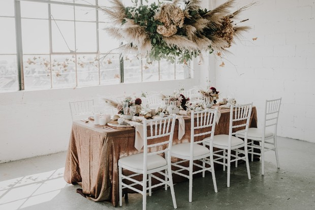 rose gold and neutral wedding ideas