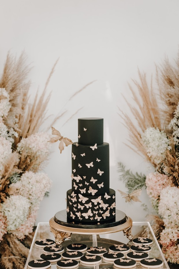 black and gold butterfly cake