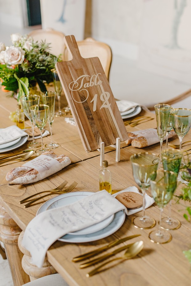 wood cutting board table number for wedding