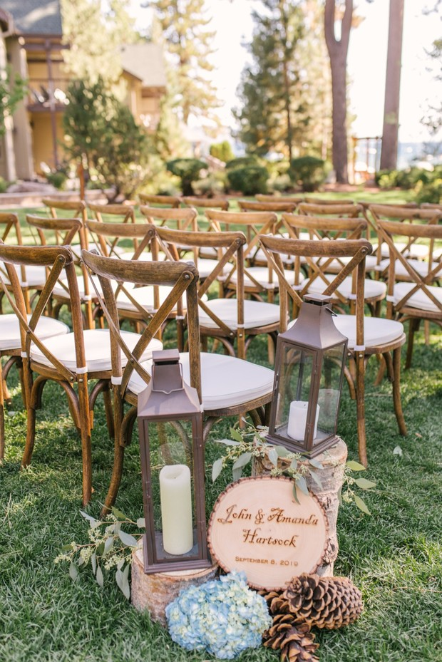chic outdoor ceremony on Lake Tahoe