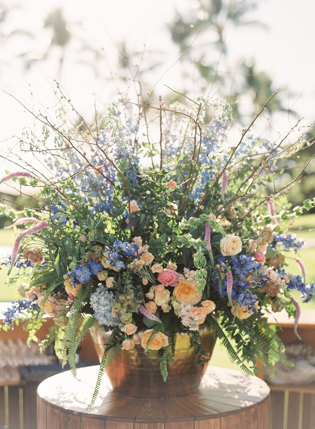 blue pink and yellow wedding flowers