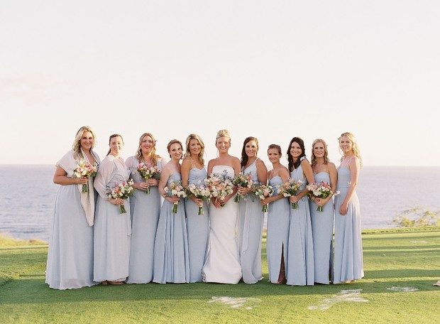bridesmaids in soft blue