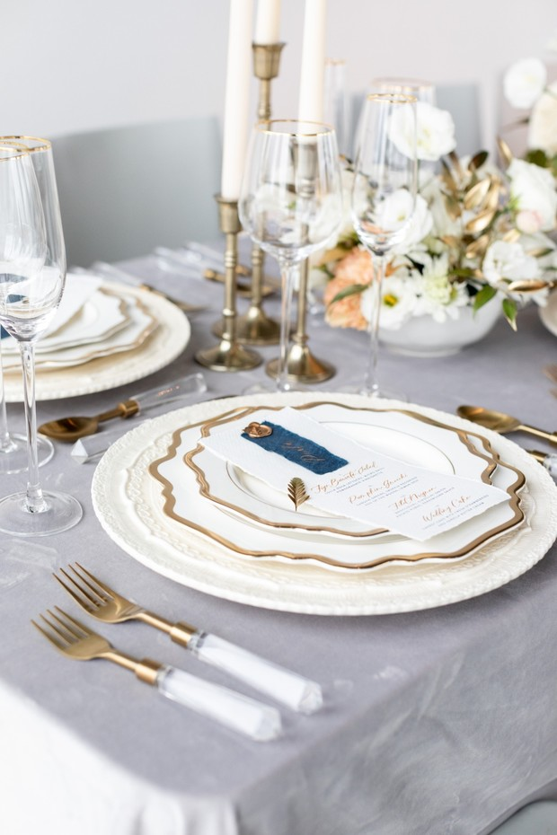 gold rimmed place setting
