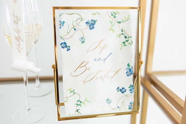 sip and be seating wedding sign