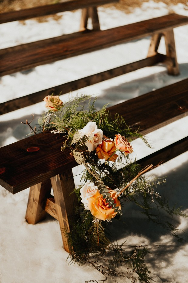 sunset inspired winter wedding floral decor