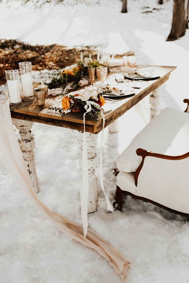 rustic chic winter wedding sweetheart tables