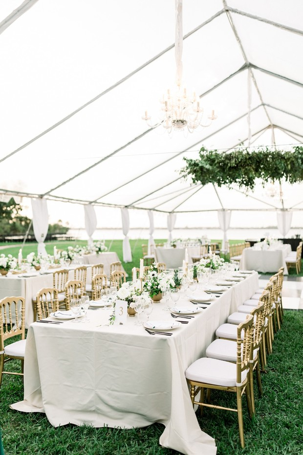 gold white and green wedding reception