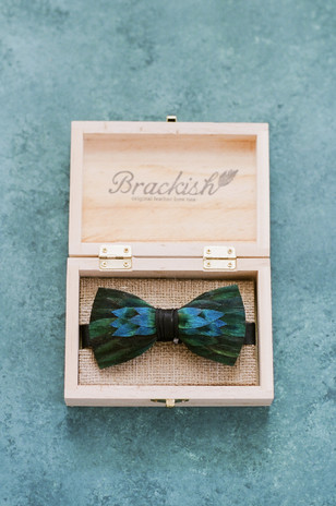 feather wedding bow tie for the groom