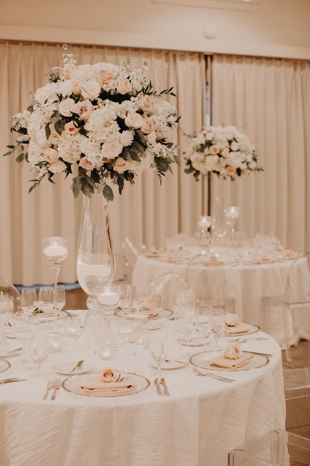 tall wedding centerpieces with floating candles