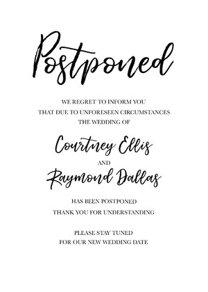 Modern Printable Wedding Postponement