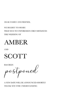 Printable Wedding Postponement