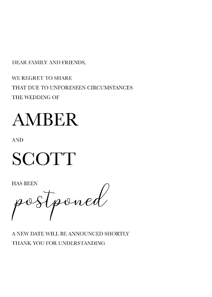 Print: Printable Wedding Postponement