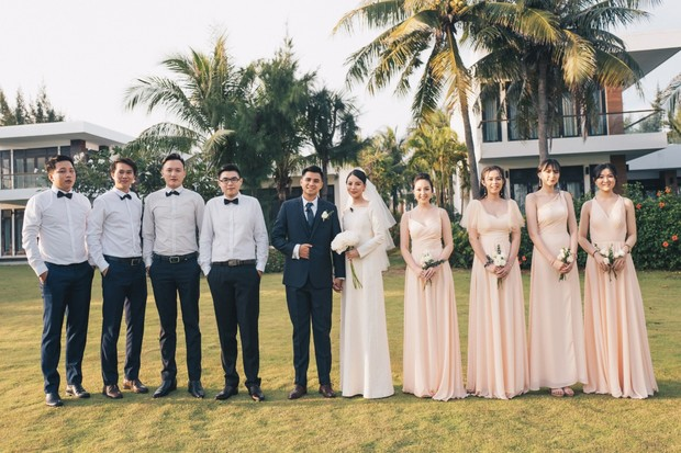 peach and navy wedding party